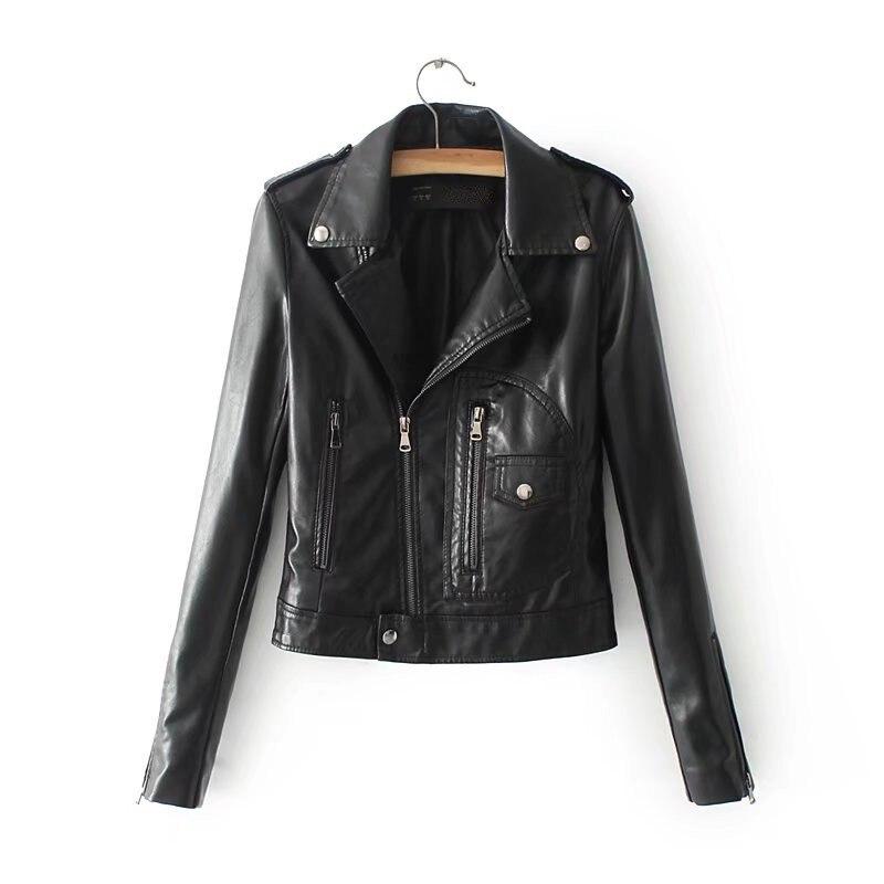 Printemps et été nouvelle rue mode veste de moto en cuir synthétique polyuréthane femme, 2018 mode était mince zipper Pu veste en cuir femme