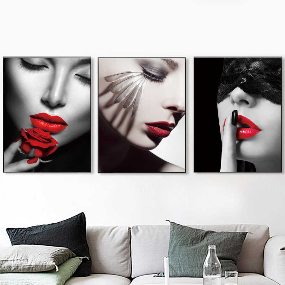 Vogue Sexy Girl Red Lips Feather Wall Art Canvas Painting Nordic Posters And Prints Wall Pictures For Living Room Salon Decor