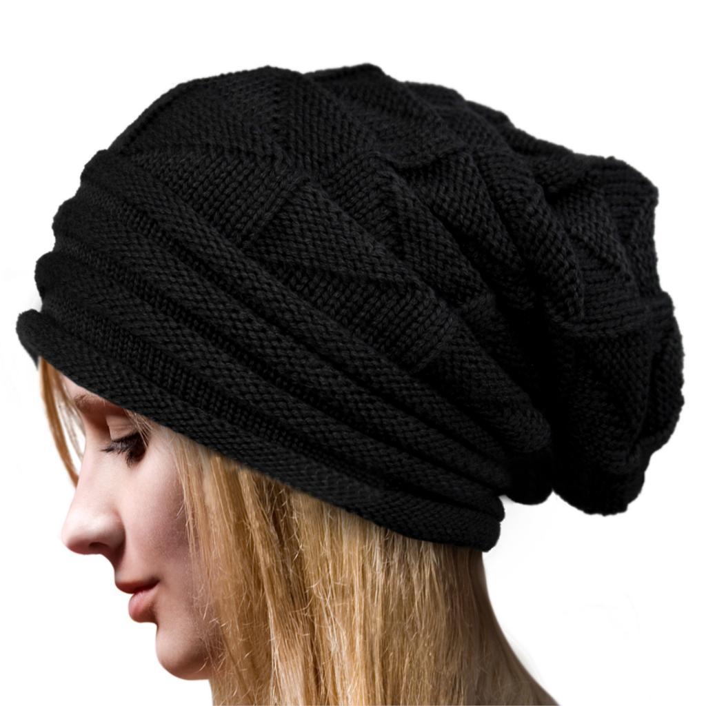 Estilo europeo 2016 mujeres Winter Fall gorros de lana ganchillo sombreros para mujer moda para mujer de gran tamaño Slouch Cap Hat en Skullies y Gorritas