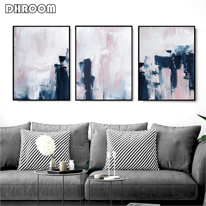 Scandinavian Style Pink & Navy Blue Wall Art Abstract Canvas Poster Minimalist Print Painting Modern Wall Pictures Decoration