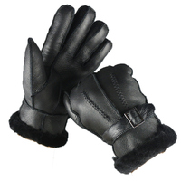 Leather Winter gloves Genuine Leather Sheepskin Gloves Men Warm Brand Mittens Touch Screen Mittens For Men Black color G316