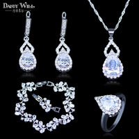 Trendy Attractive Australia White Crystal Water Drop CZ Crystal 925 Stamp Silver Color Bracelets Jewelry Set