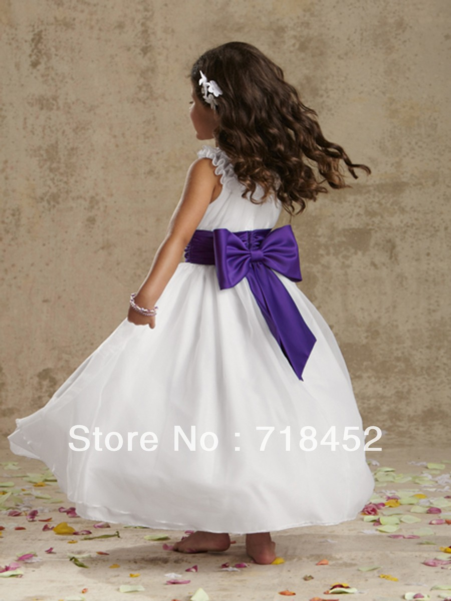 New arrival little girl flower girl dresses purple sashes a line new arrival little girl flower girl dresses purple sashes a line high neck bow back floor length free shipping sd89 in flower girl dresses from weddings mightylinksfo