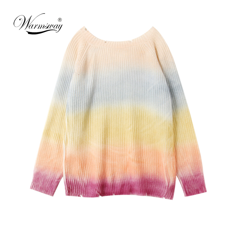 16dfac2b10 Women Pullover Rainbow Sweater Coarse wool knit Maccaron Color gradient  Loose Sweater Tumblr Female Autumn New Fashion C 072-in Pullovers from  Women s ...