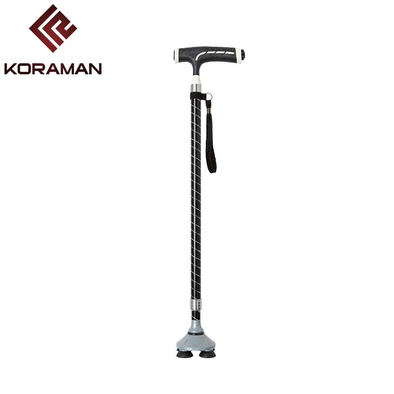 Smart cane with lamp telescopic old man Non-slip adjustable sticks elderly Aluminum alloy T-handle Four feet walking stick
