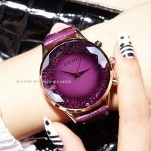 HK GUOU Marca Senhora Relógio de Quartzo Strass Relógio de Luxo de Couro Genuíno das Mulheres À Prova D' Água Grande Dial relógios de Pulso de Presente de Luxo