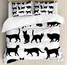 Decorative Cat Printed Cotton Bedding 4 pcs Set
