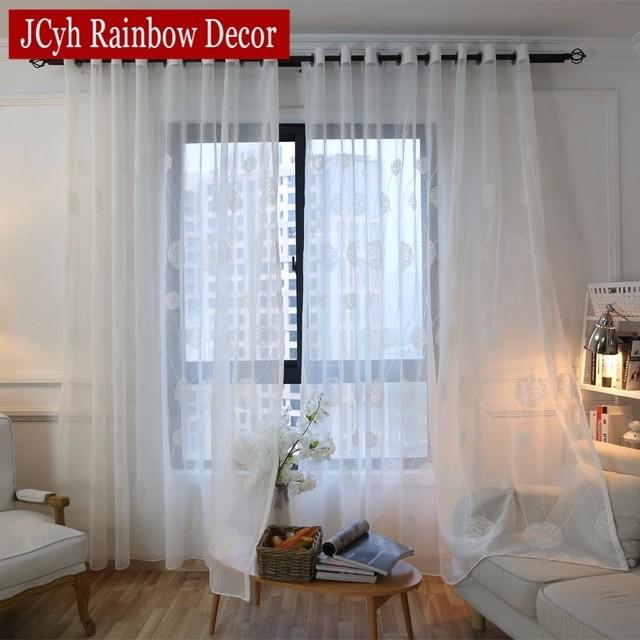 Moderne witte geborduurde voile gordijnen voor woonkamer for Voile gordijnen