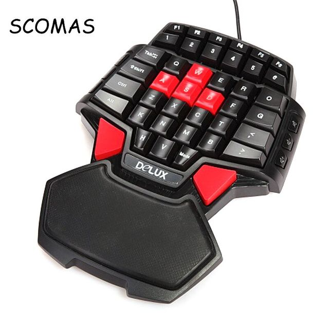 scomas one hand gaming keyboard backlit professional mini keyboard t9 double space key bar. Black Bedroom Furniture Sets. Home Design Ideas