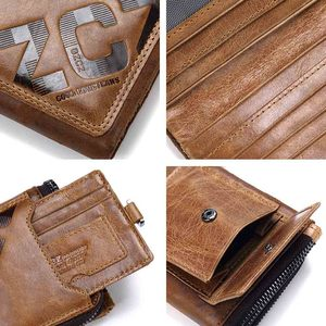 Image 5 - GZCZ Genuine Leather Men Wallet Fashion Coin Purse Card Holder Small Wallet Men Portomonee Male Clutch Zipper Clamp For Money
