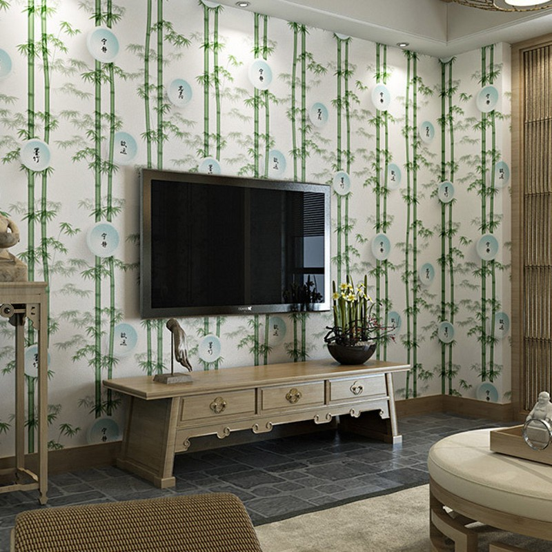 beibehang Simulation study classical Chinese teahouse wallpaper Green bamboo wallpaper living room TV background wallpaper rattan aisle study teahouse bamboo
