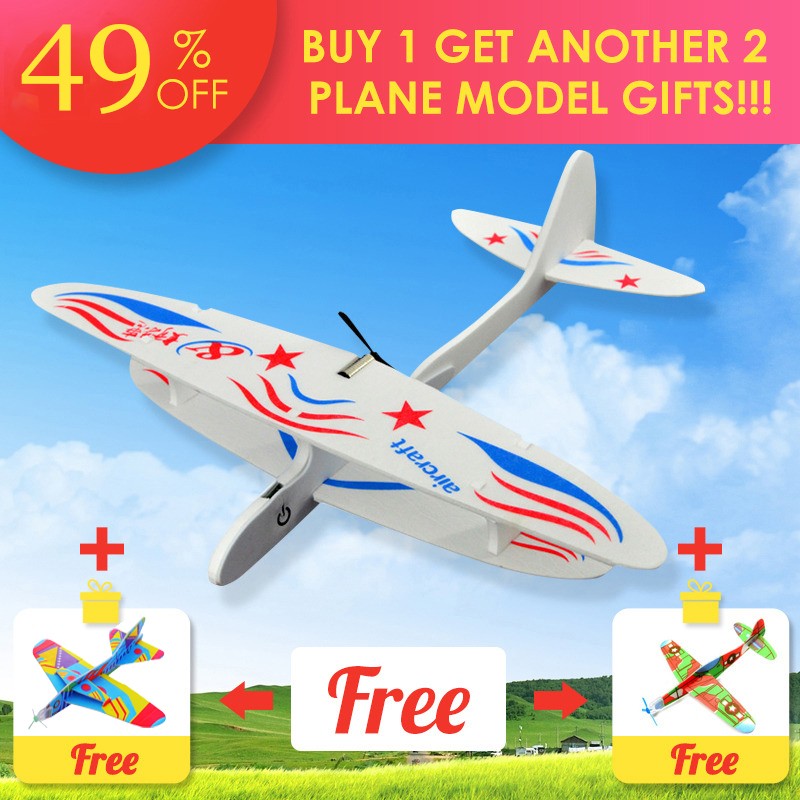 2019 DIY Biplane Glider Foam Powered Flying Plane Rechargeable Electric Aircraft Model Science Educational Toys For Children