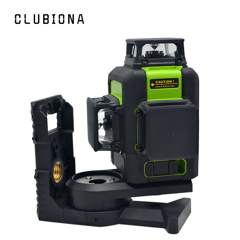 Clubiona 3D 12RC 12 Lines Laser Level with LITHIUM BATTERY & Horizontal And Vertical Lines Work Separately Red Laser Beam Lines element ex276 peq15 battery case military high precision red dot laser integrated with led flashlight red laser and ir lens