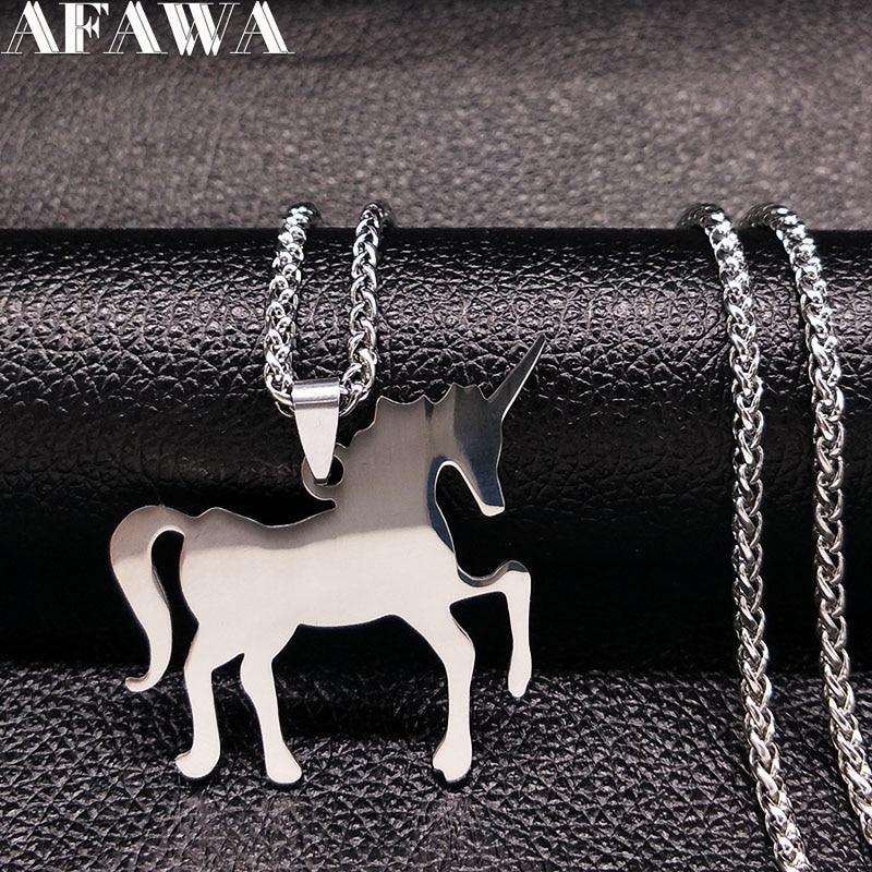 2018 Licorne Acier Inoxydable Collier Jewerly Argent Couleur Long Colliers et Pendentifs Bijoux joyas acero inoxidable mujer N17839