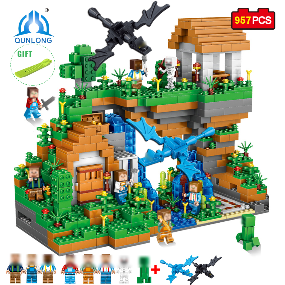 Qunlong 957pcs Blocks Figures Toy For Kids Compatible Legoe Minecrafted City Building Blocks Set Education Toys Boy Girl Gifts qunlong toys compatible legos minecraft city model building blocks diy my world action figures bricks educational boy girl toy