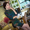 TIC-TEC chinese traditional dress women cheongsam short qipao vintage print three-quarter elegant oriental dresses clothes P3092