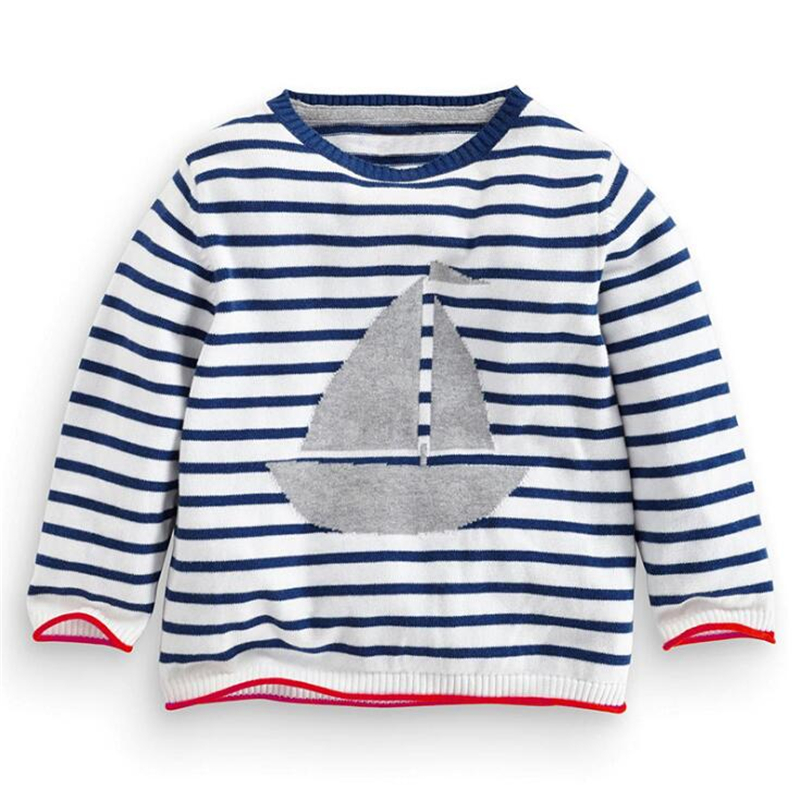 Autumn Winter Brand Children Sweater Boys Girls Warm Cotton Knitted Sweater Baby Cartoon Ship Sweater Kids Outerwear 2-6Y sweater