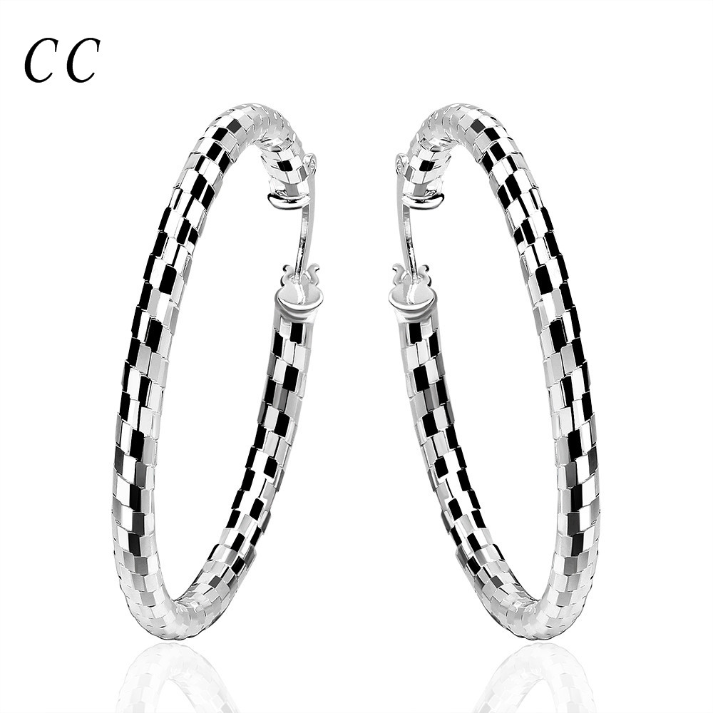 Cheap Round Hoop Earrings For Women Silver Plated Stylish Big Diameter  Earrings Fashion Jewelry Bijoux Wholesale