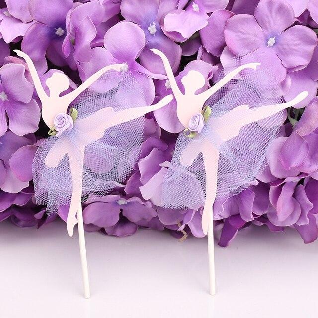 Kreative Rosa Blau Lila Spitze Ballerina Kuchendeckel Hochzeitstorte