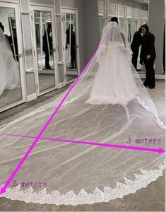 Image 3 - Velo de novia de 2 capas de largo 3 M de alta calidad, 3 metros, 2T, cubierta de encaje de lentejuelas, cara blanca, velo de novia, color marfil, accesorios de novia