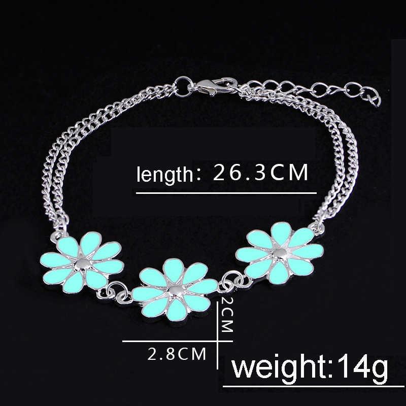 Glow in the dark Vòng Tay Cho Phụ Nữ Đơn Giản flowers Bracelet Femme dạ quang liên kết chuỗi Cổ Tay Món Quà Giáng Sinh charm bracelet