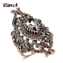Kinel Unique Gray Crystal Ring For Women Antique Gold Color Vintage Jewelry Party Accessories Luxury Gifts 2018 New kinel unique antique gold gray crystal big ring for women vintage jewelry party accessories luxury gifts 2020 new drop shipping