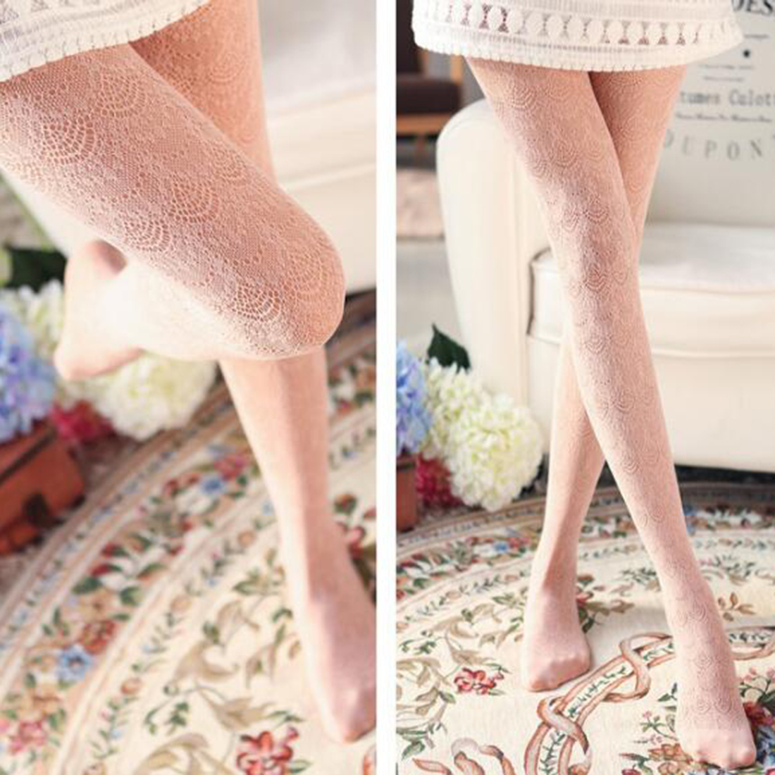 Cute Sexy Design Women Sexy Stockings Popular Ladies Women Flower Floral Lace Hollow Ventilate Pantyhose Tights Stocking