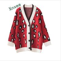 Xnxee 2019 spring Korean thick sweater coat fashion casual female student campus loose leopard knit cardigan lazy style sweater