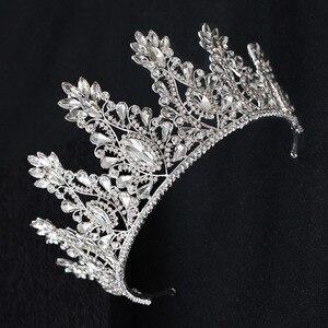 Image 3 - KMVEXO Fashion Big Drop Crystal Wedding Diadem Rhinestone Queen Tiaras And Crowns Headbands For Bride Hair Jewelry Accessories