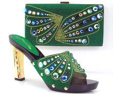 Ew ankunft fashion11cm peep toe talian schuhe mit passenden taschen set GRÜN neue mode steine blume Afrikanische schuhe und tasche sets