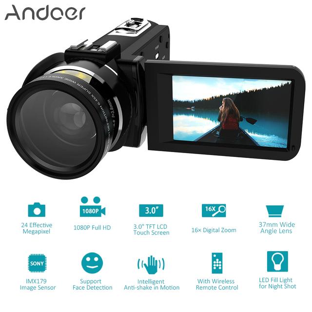 Andoer HDV-Z20 Digital Video Camera  Full HD 1080P 24MP WiFi 3.0″ Touch screen 16x Zoom Mini Camcorder DV camera digital video