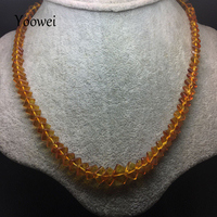 Yoowei Baltic Amber Necklace For Women Genuine Square Amber Chain Necklace Special Gift Natural Amber Beaded