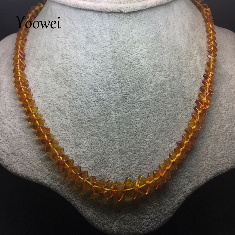 Yoowei Baltic Amber Necklace for Women Genuine Square Amber Chain Necklace Special Gift Natural Amber Beaded Long Women Jewelry yoowei 4mm natural amber bracelet for women small beads no knots multilayered sweater chain necklace genuine long amber jewelry