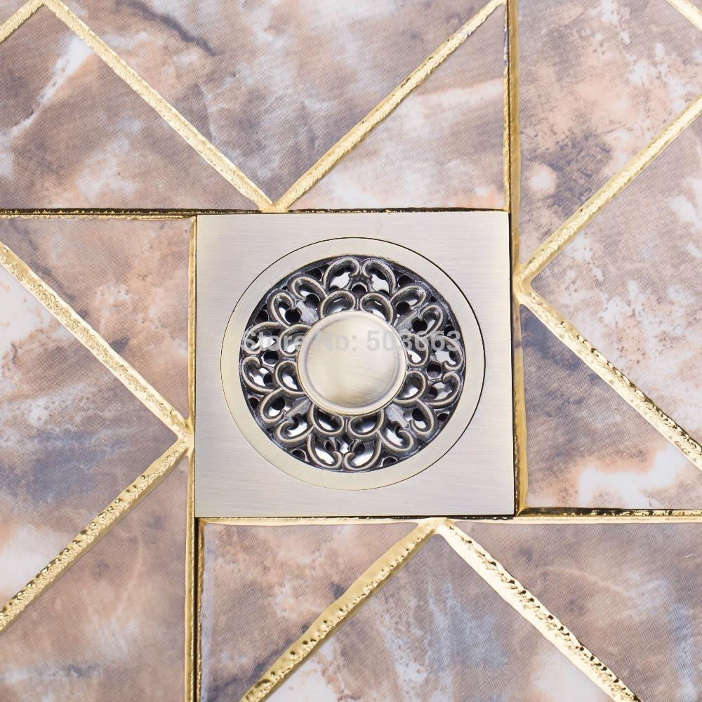 Retro Square Floor Drain Bathroom Rose Antique Brass Grate Floor Register Waste Drain 4 x 4 5351A Flower Art Floor Drain цена