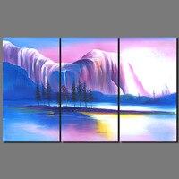 다채로운 강 산 섬 장식 보라색 블루 풍경 보트 벽 예술 그림 캔버스 거실 프레임이없는