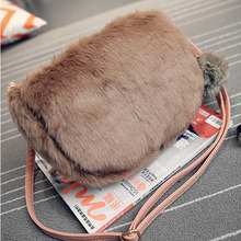 Women Shoulder Bags Solid Top Korean Channels Ladies Crossbody Bag Faux Fur Plush Cony Hair Clutch Hairy Balls Casual Female Hot