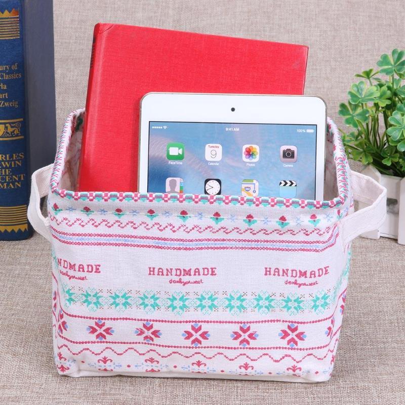 Storage Basket DIY Desktop Folding Linen Toy Storage Box Pastoral Floral Animal Jewelry Makeup Organizer