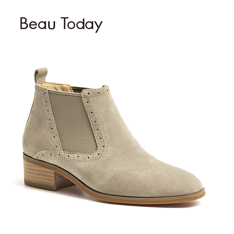 BeauToday Chelsea Boots Women Cow Suede Elastic Band Ankle Boot Genuine Leather Top Brand Lady Shoes High Quality 03255 стоимость