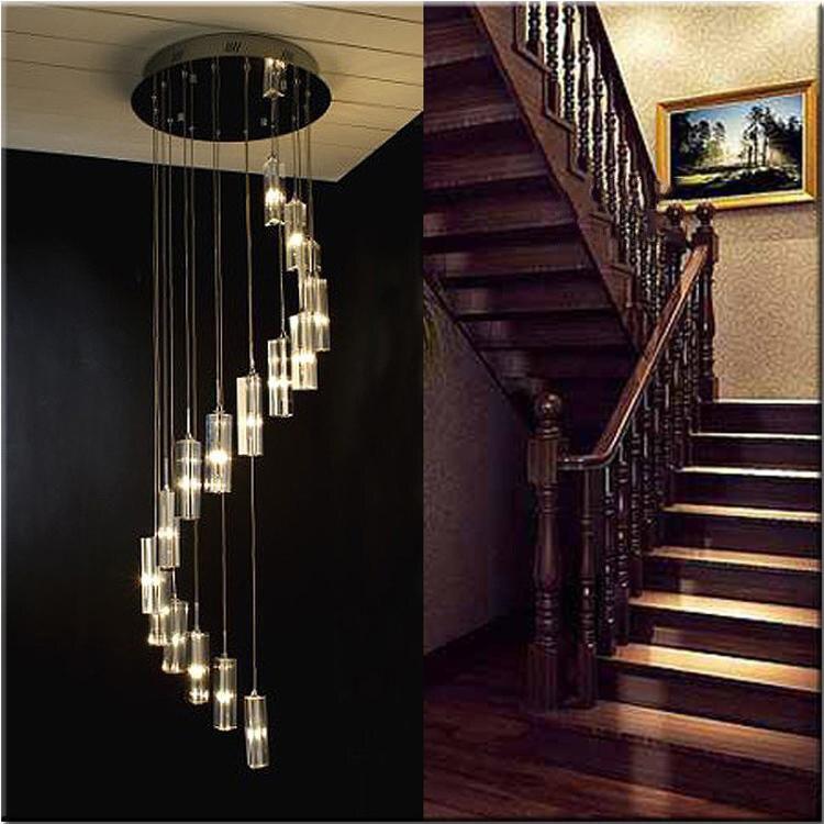 Spirale Lustre En Cristal Pour Escalier Moderne Salon LED Crystal Light Long Hôtel Hall Lustres Cristal Lampes