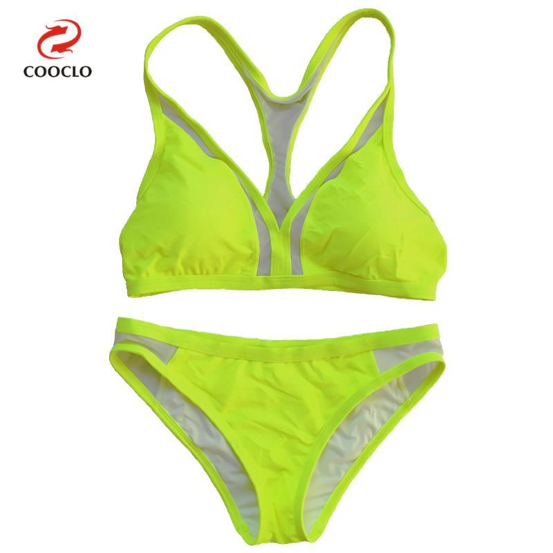 Prix pour Vente chaude maille bikini triangle top solide couleur sexy femmes maillots de bain maille patchwork maillot de bain