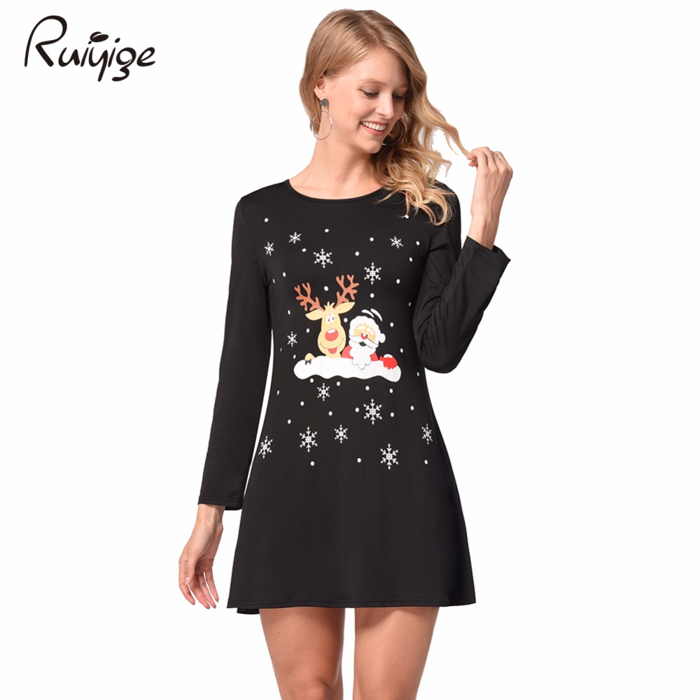 Ruiyige 2017 Women Long Sleeve Mini Dresses Casual Party