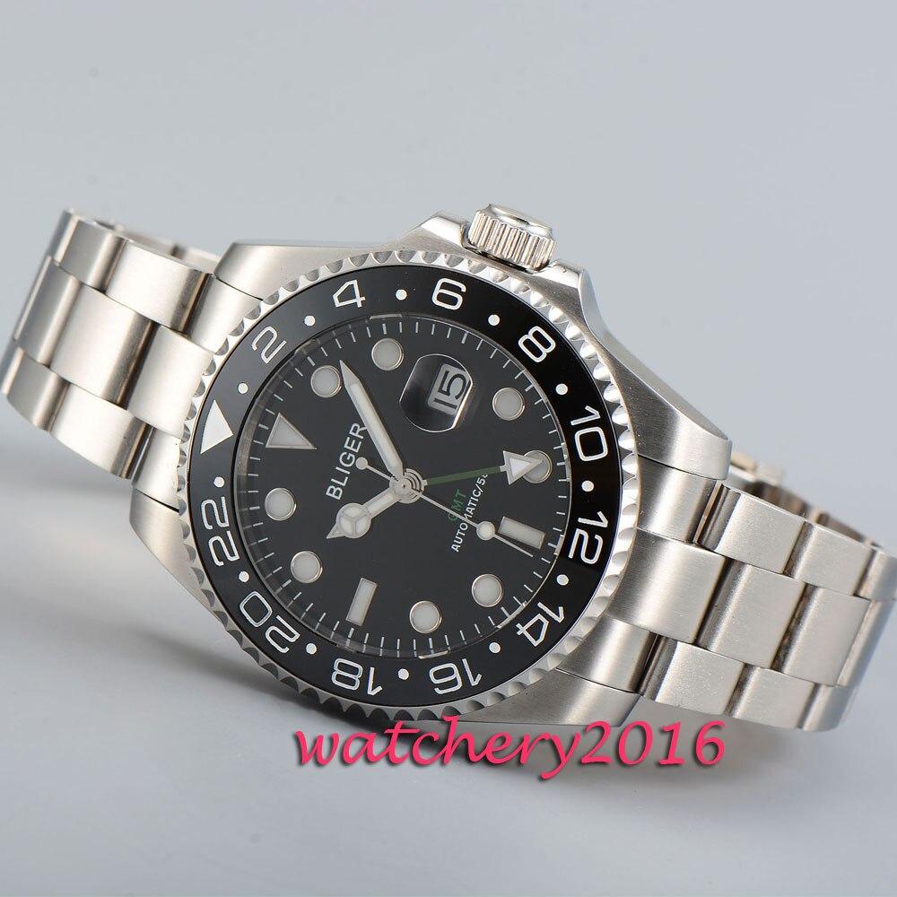 New 43mm Bliger black dial ceramic bezel date window sapphire glass GMT  Automatic movement Men s Watch 14e1de5fed95