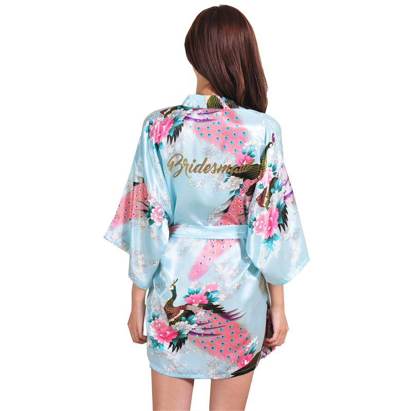 Image 4 - VLENATLNO Wedding Bride Bridesmaid Floral Robe Satin Rayon Bathrobe Nightgown For Women Kimono Sleepwear Flower Plus Size-in Robes from Underwear & Sleepwears on AliExpress