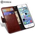 Funda cartera de cuero para apple iphone 5s 5 se tirón de lujo bolsa cubierta del teléfono para el iphone 5s casos fundas coque tomkas marca