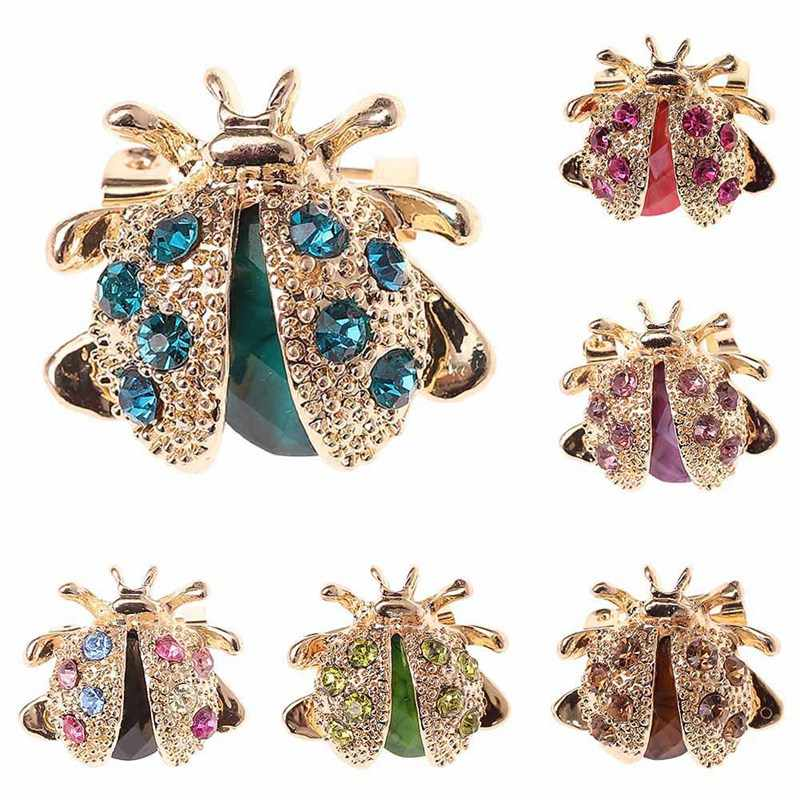 1Pcs New Small Ladybird Colorful Crystal Rhinestones Brooch Pins For Women Or Girls Free Shipping