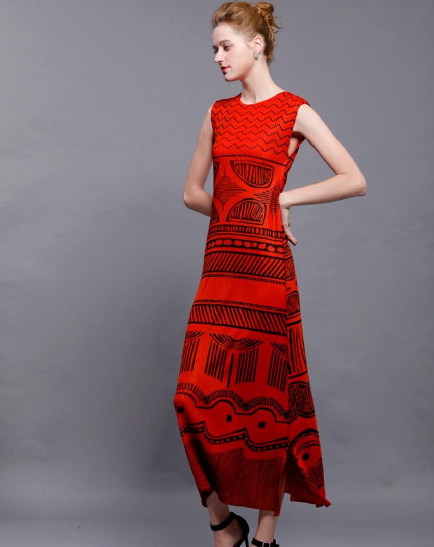 Miyake Red Robes Mince Sans Manches Style Je Nouveau National Rides Orange Gratuite D'été Impressions Plissées Livraison 8qrvZ8