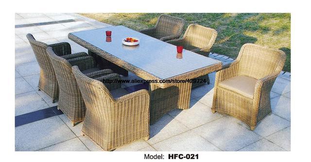 Luxus Runde Rattan Gartenmöbel Glas Tisch Voller Rattan Stuhl Set