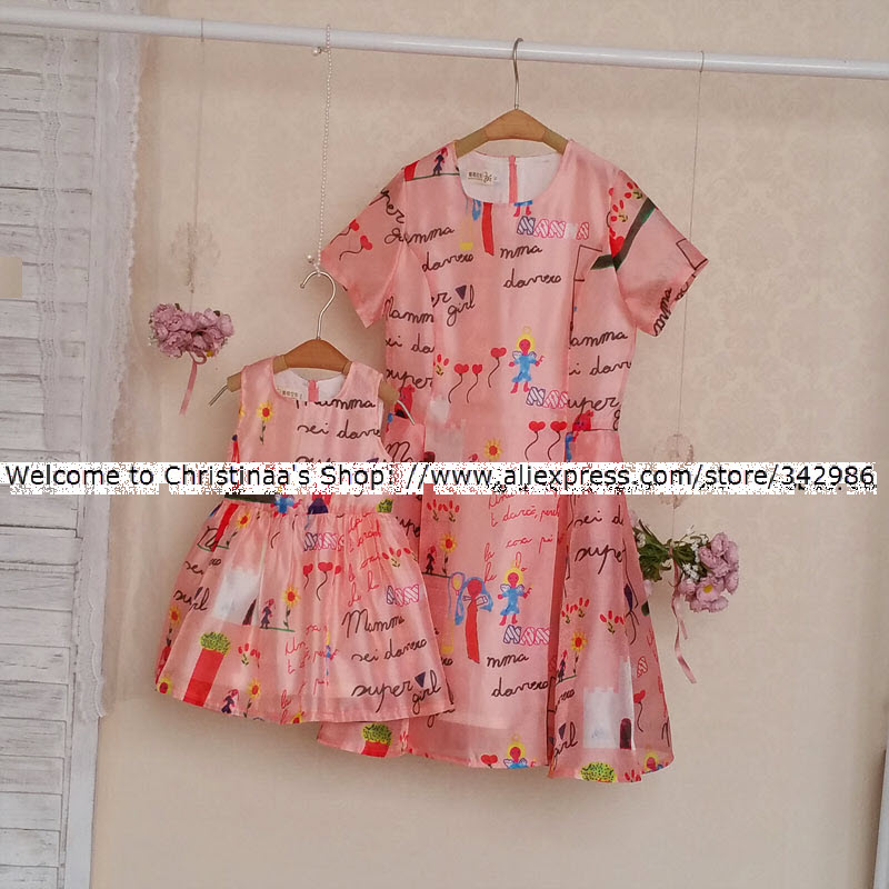 цена на Brand Parenting Family fitted clothing Paternity dresses Girl Lady Mother daughter matching clothes women large size dress skirt