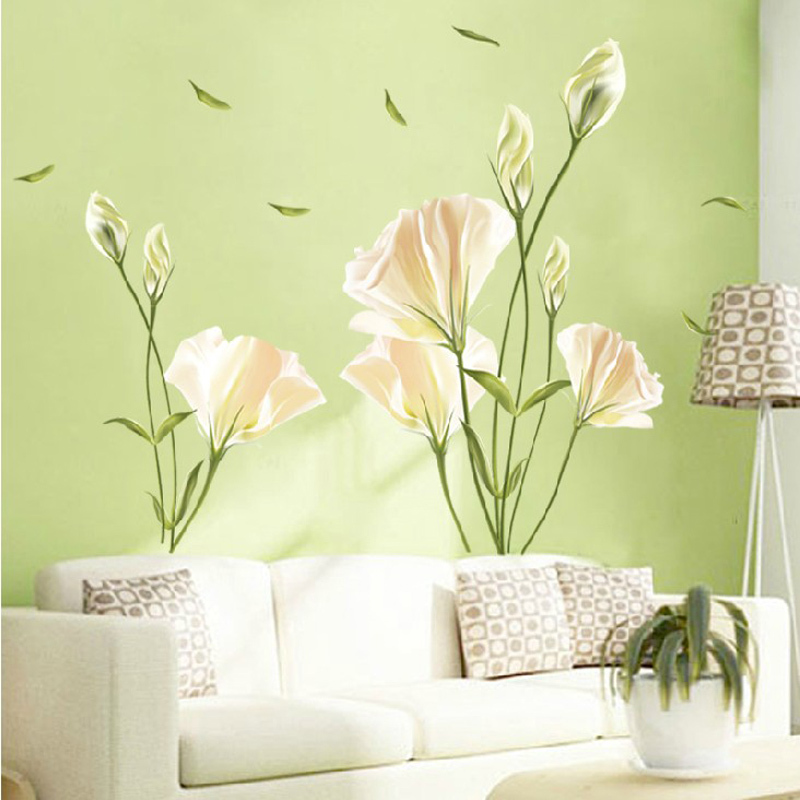 efcfda93bd2 2019 new Lily Flowers Wall Sticker On The Wall VinYl Wall Stickers Gome  Decor Bedroom Backdrop Wall Decals