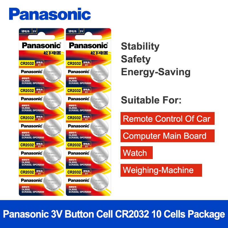 <font><b>Panasonic</b></font> 10Pcs/Lot CR2032 Button Battery 20mm*3.2mm 3V Lithium Button Coin Cell Watch Batteries for Watch Computer CR <font><b>2032</b></font> image